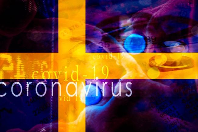 Svenska flaggan med texten coronavirus