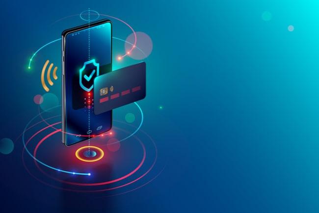 Mobiltelefon och kreditkort i vektorgrafik