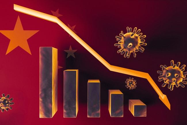 Illustration av coronavirusets påverkan på ekonomin med staplar och en pil som visar nedgång