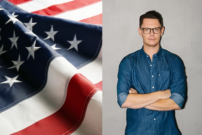 Kollage USAs flagga och David Sandström marknadschef på Klarna