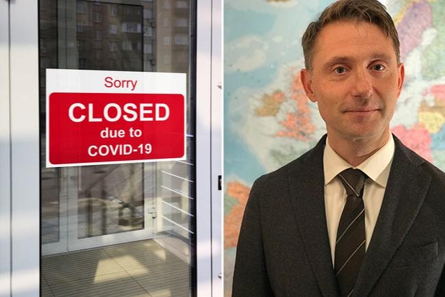 stängningsskylt på kontorsdörr och tillförordnad chefsekonom Andreas Wallström, Swedbank