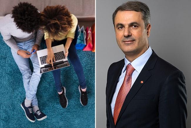 par som shoppar online och näringsminister Ibrahim Baylan