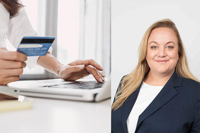 kvinna med betalkort och laptop, och Qliros vd Carolina Brandtman